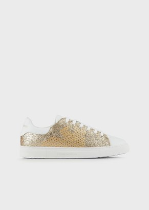 Emporio Armani Studded, Leather Sneakers With Glitter Details