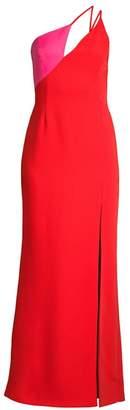 BCBGMAXAZRIA One-Shouldered Satin Colorblock Gown