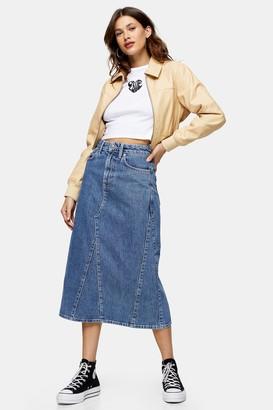 Topshop Womens Vintage Wash Denim A Line Midi Skirt - Mid Stone