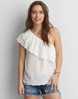 American Eagle Outfitters AE One Shoulder Eyelet Top