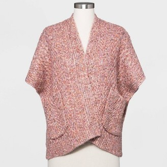Women's Knit Kimono Jacket - Universal ThreadTM Coral One Size