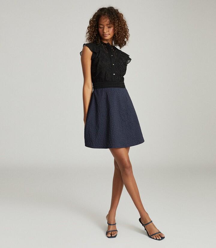 Reiss Hazel - Ruffle Detailed Mini Dress in Navy/Black