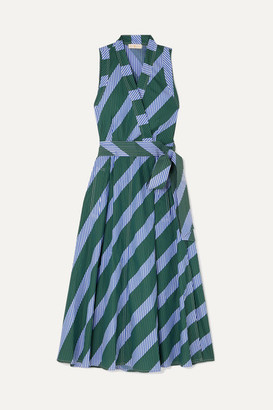 Tory Burch Striped Cotton-poplin Wrap Dress - Blue