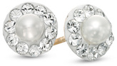Zales Child's 3.0mm Cultured Freshwater Pearl and Crystal Frame Stud Earrings in 14K Gold