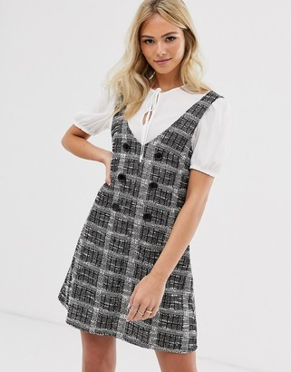Miss Selfridge dress with tee in grey check