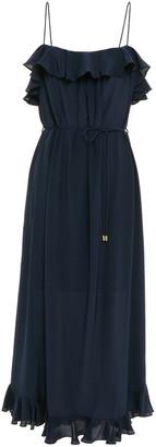 Zimmermann Ruffle-trimmed Washed-silk Midi Dress