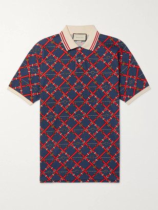 Gucci Slim-Fit Printed Stretch-Cotton Pique Polo Shirt