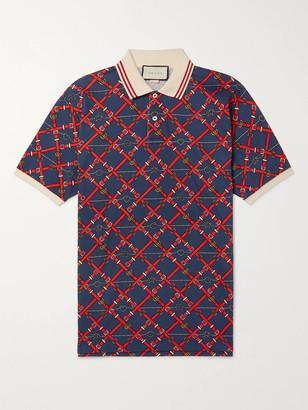 Gucci Slim-Fit Printed Stretch-Cotton Pique Polo Shirt