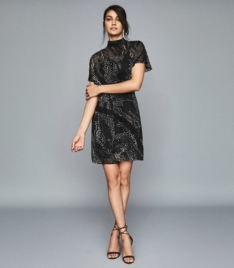 Reiss AMELIA BURNOUT PRINTED MINI DRESS Monochrome