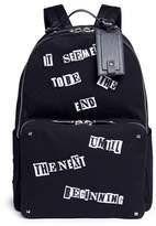 Valentino x Jamie Reid slogan patch canvas backpack