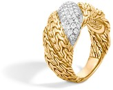 John Hardy Classic Chain 18K Gold Diamond Pave Flat Twisted Chain Ring