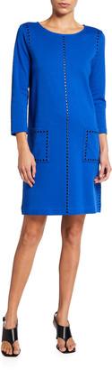 Joan Vass Petite 3/4-Sleeve Embellished Shift Dress