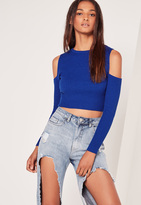 Missguided Cobalt Blue Cold Shoulder Knit Ribbed Cropped Sweater