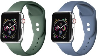 Posh Tech Blue & Green Silicone 38mm/40mm Band Pack of 2 for Apple Watch Series 1, 2, 3, 4, 5