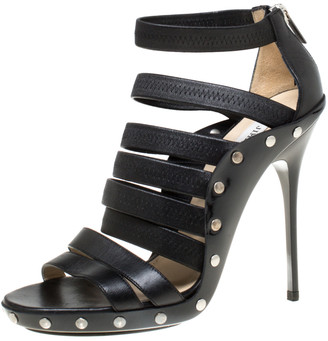Jimmy Choo Black Leather Strappy Back Zip Sandals Size 38