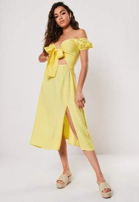 Missguided Lemon Bardot Tie Front Skater Midi Dress