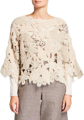 Brunello Cucinelli Floral Crochet Embellished Top