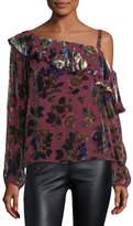 Nanette Lepore One-Shoulder Floral-Burnout Velvet Ruffled Top