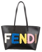 Fendi Shearling-Trimmed Roll Tote