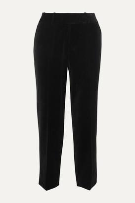 Cefinn - Tatum Piped Cotton-velvet Tapered Pants - Black