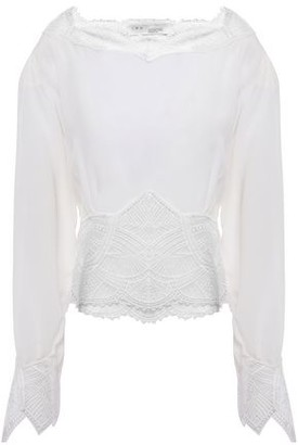 IRO Gathered Guipure Lace-trimmed Silk Crepe De Chine Blouse