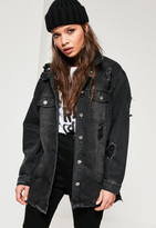 Missguided Black Ripped Longer Length Denim Jacket