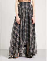 Brunello Cucinelli Tartan asymmetric-hem silk maxi skirt