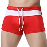 HP95(TM) Sexy Mens Swim Shorts Trunks Swimming Pants Male Boxer Briefs (S=Waist:66.7-76.7CM, Red)