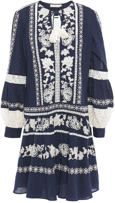 Tory Burch Guipure Lace-trimmed Embroidered Swiss-dot Cotton Dress
