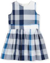 Burberry Alenna Sleeveless Smocked Check Dress, Ink Blue, Size 4-14