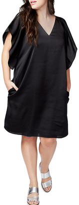 Rachel Roy Satin Flutter-Sleeved Dress