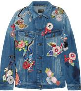 Saint Laurent Oversized Appliquéd Denim Jacket - Mid denim