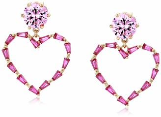 Betsey Johnson GBG) Women's CZ Stone Open Heart Drop Earrings