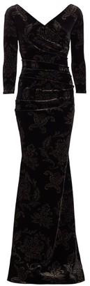 Chiara Boni Myra Glitter Velvet Mermaid Gown