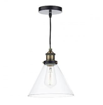 Där Lighting Dar Lighting - Brass Clear Ray Pendant Light - Glass/Gold