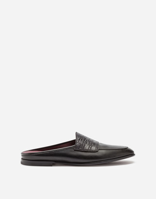 Dolce & Gabbana Calfskin Open-Back Slippers With Crocodile Detailing
