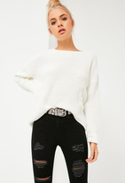 Missguided White Dip Back Fashioned Sweater