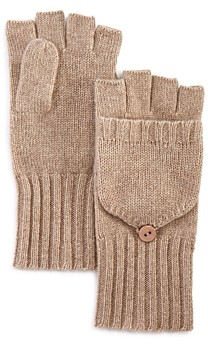 C by Bloomingdale's Ribbed Pop-Top Cashmere Gloves - 100% Exclusive
