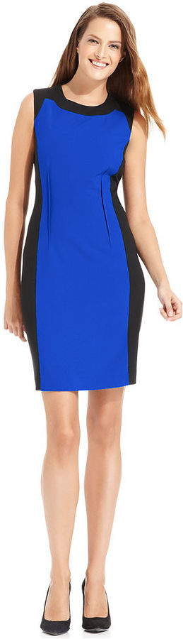 Calvin Klein Dress, Sleeveless Colorblocked Sheath