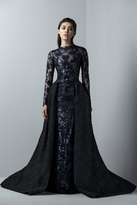 Saiid Kobeisy - 3391 Long Sleeve Tulle Brode Gown with Overskirt