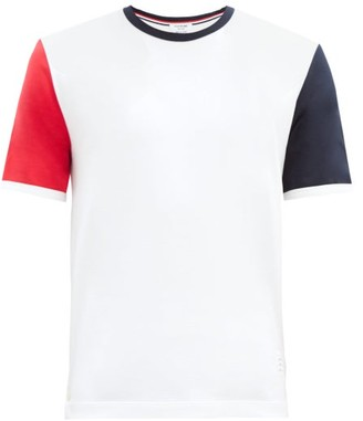 Thom Browne Panelled Cotton-jersey T-shirt - White
