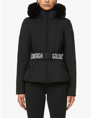 Goldbergh Hida faux-fur-trimmed belted stretch-woven jacket