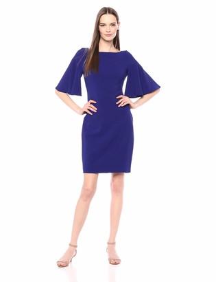 Brinker & Eliza Women's Fitted Sheath Dress with Ruffled Sleeve