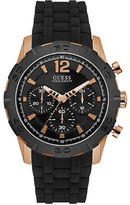 GUESS Caliber Black Resin and Rose-Goldtone Chronograph Watch