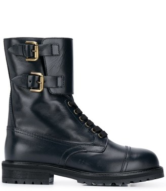 Semi-Couture Lace-Up Combat Boots