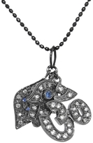 Sydney Evan Hamsa, Om, and Evil Eye Trinkets Necklace in Blackened Gold with Blue Sapphires