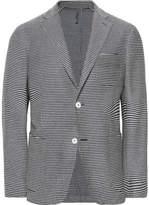 Incotex Navy Slim-Fit Unstructured Striped Cotton Blazer