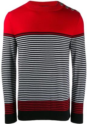 Balmain Striped Crew Neck Sweater