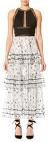 Carolina Herrera Tiered Floral Lace Dress with Sheer-Inset Bodice, Black/White