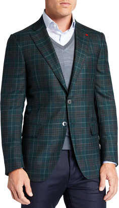 Isaia Men's Plaid Cashmere Sport Jacket